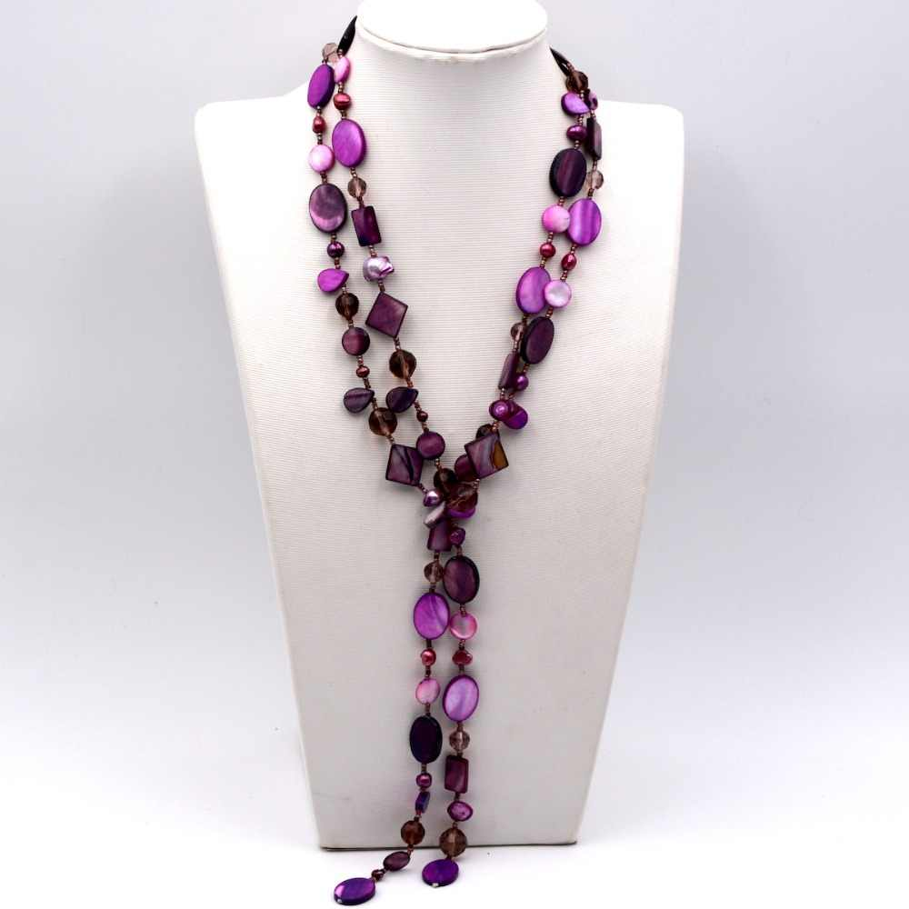 2019 Trendy Fashion Purple Seed Bead Mop Shell Freshwater Pearl Crystal Long Sweater Necklace Women Hot Selling