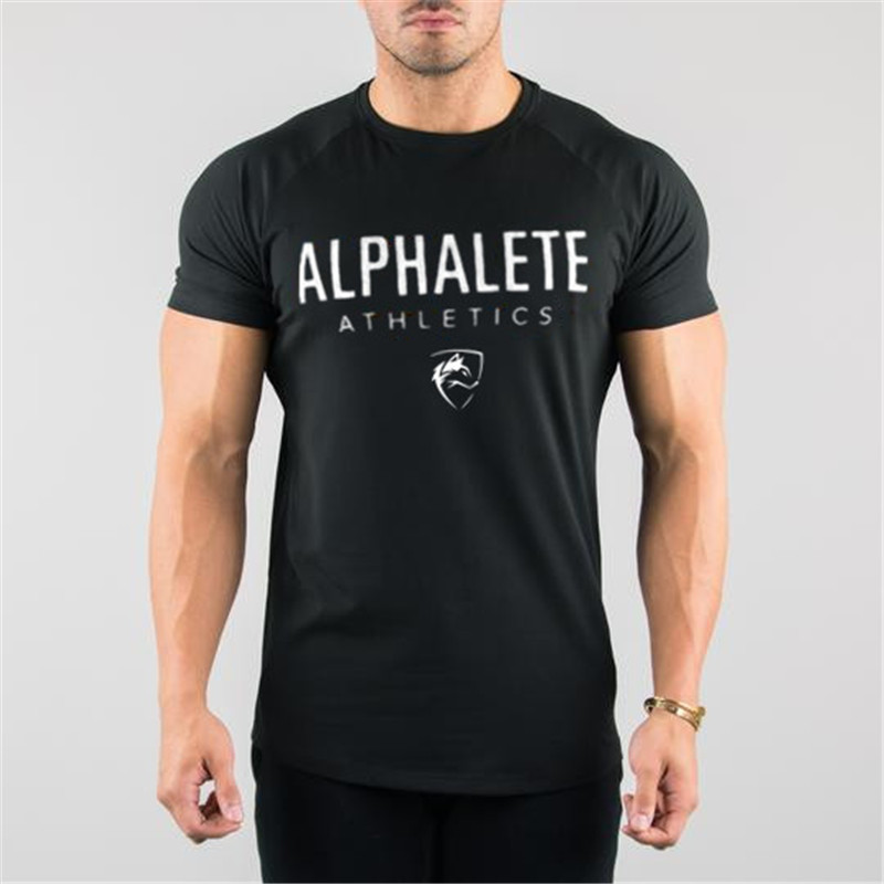 ALPHALETE Gyms Summer Fashion Men 39 s T Shirt Casual Active Short Sleeve T Shirt Mens Clothing Trend Casual Slim Fit Fitness Top in T Shirts from Men 39 s Clothing