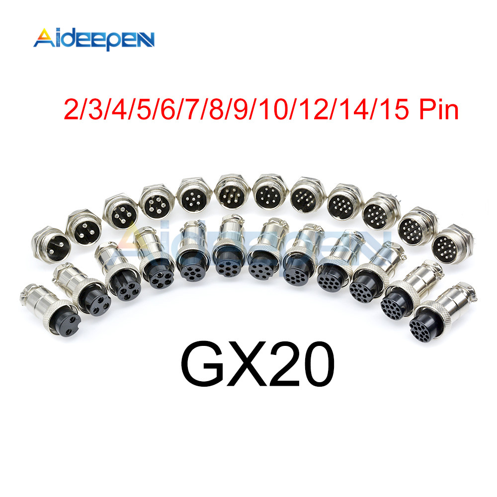 1set GX20 Aviation Connector Male Plug Female Socket Circular Connector 2/3/4/5/6/7/8/9/10/12/14/15 Pin Wire Panel Connector