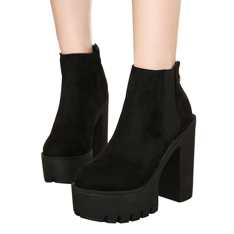 Gdgydh Mode Noir bottines Pour Femmes Épais Talons Printemps Automne Troupeau chaussures à semelles compensées talons hauts Noir Zipper Dames Bottes - 5