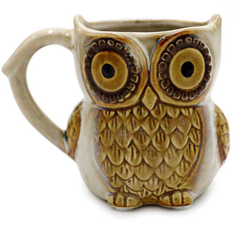 Teagas Cute Owl Coffee Mug 12 Oz For Coffee Tea Beer Beige