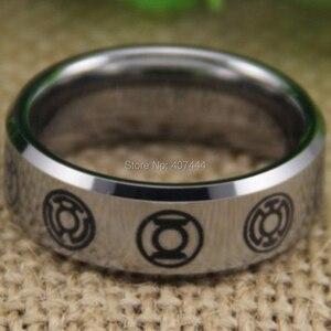 Image 2 - Free Shipping YGK JEWELRY Hot Sales 8MM Comfort Fit Green Lantern Darkest Night New Silver Tungsten Wedding Ring