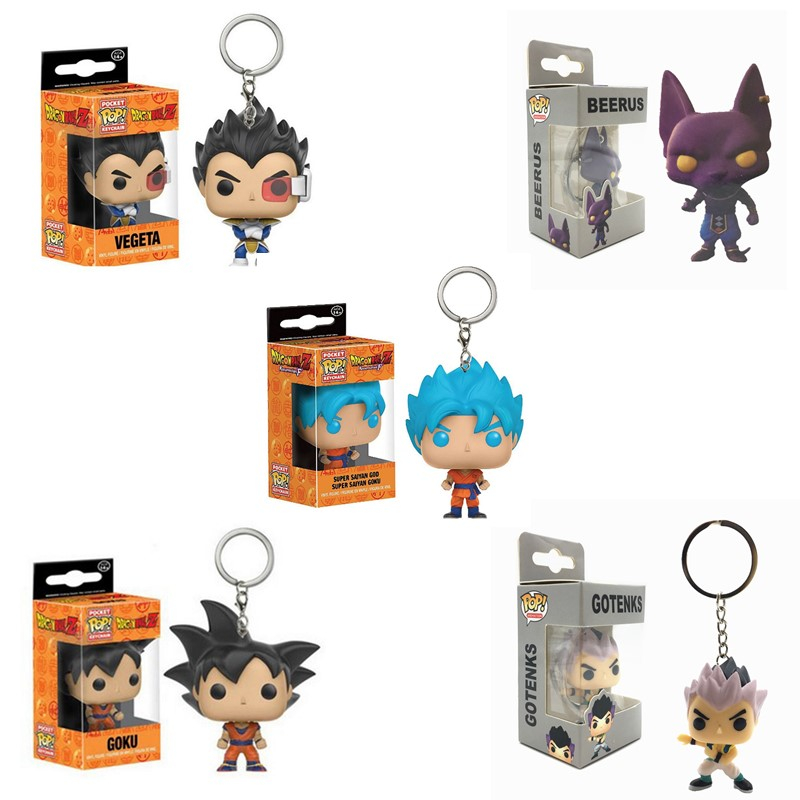 Funko POP Pocket Pop Keychain Amine Dragon Ball Super Saiyan GOKU VEGETA BEERUS GOTENKS Action Figure Model Toys Gift Collection