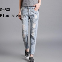 S-8XL plus big size 2017 summer fashion brand beading sequined cotton jeans women was thin Ankle-Length jeans female wj564