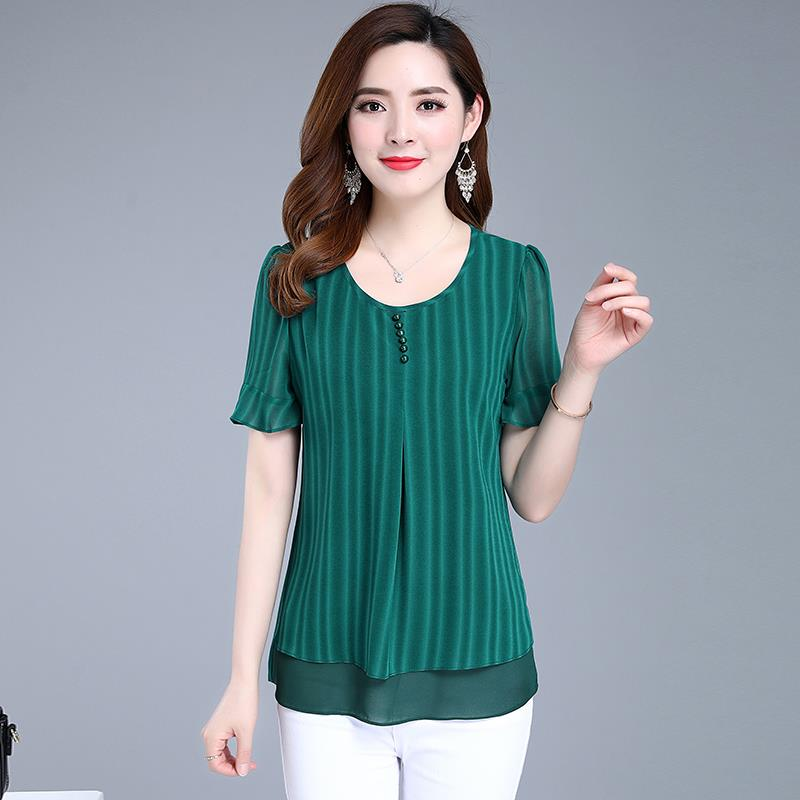 Fashion Women Spring Summer Style Chiffon   Blouses     Shirts   Lady Casual Striped Short Sleeve Blusas Tops Red Green DF2654