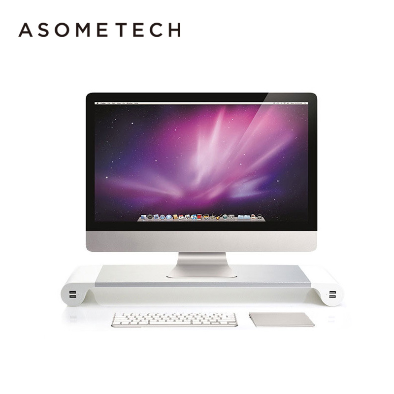 Non-Slip Riser 4-Ports USB charge Aluminum Alloy Desktop Monitor Stand For iMac MacBook Air Pro Space Bar Laptop PC Stand HolderNon-Slip Riser 4-Ports USB charge Aluminum Alloy Desktop Monitor Stand For iMac MacBook Air Pro Space Bar Laptop PC Stand Holder
