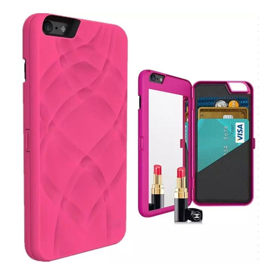 Hidden Back Makeup Mirror Wallet Case for Apple IPhone 6