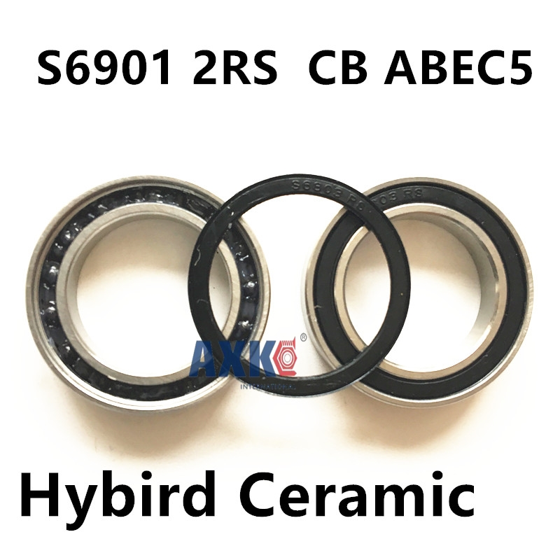 2pcs rubber sealed 440 stainless steel hybrid ceramic ball bearings S6901 2RS CB  6901 2RS 12*24*6mm Si3N4 bike part axk free shipping 1pcs 6901 2rs hybrid ceramic si3n4 ball 61901 ceramic bearing 12 24 6mm 6901 2rs
