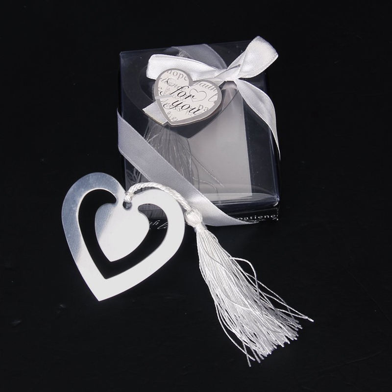 Wedding Favors Double Hearts Bookmark Party Favors Stainless Steel With Tassels