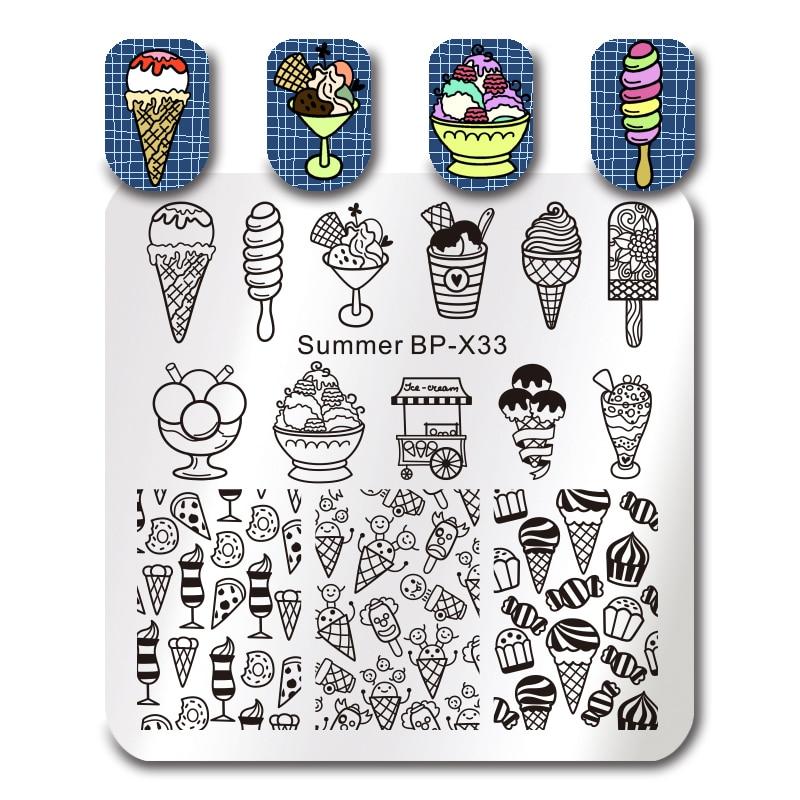 BORN PRETTY Square Summer Icecream Nail Art Stamp Template Manicure Printing Image Plate Nail Art Stencil Tool BP-X33 6cm