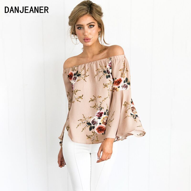 Danjeaner 2017 New Off Shoulder Chiffon Blouse Shirts Dames Sexy Zomer Plus Size Gedrukt FloralTops Fashion Flare Mouw Blusas