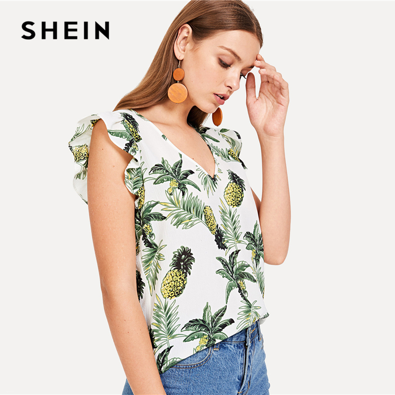bab523474ce357 SHEIN Pineapple Tropical Print V Neck Ruffle Top V Neck Butterfly Cap  Sleeve Pullovers Blouses Women Summer Casual Blouse -in Blouses & Shirts  from Women's ...