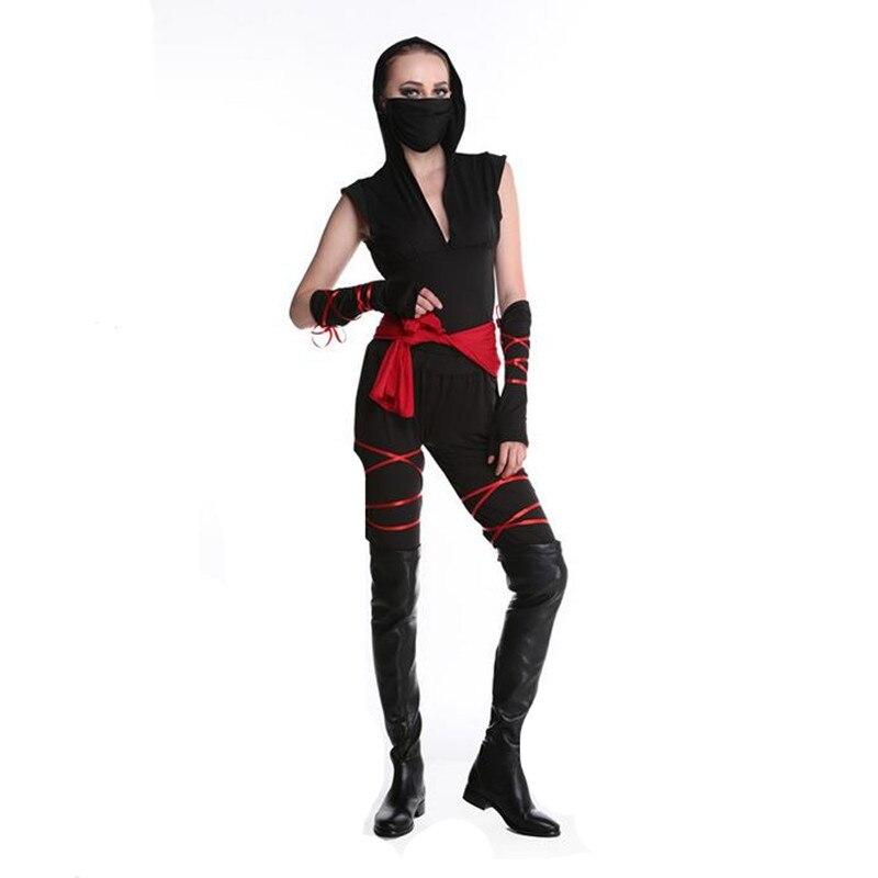 Purim Sexy Ladies Female Ninja Black Hooded Costume Cosplay Lingerie