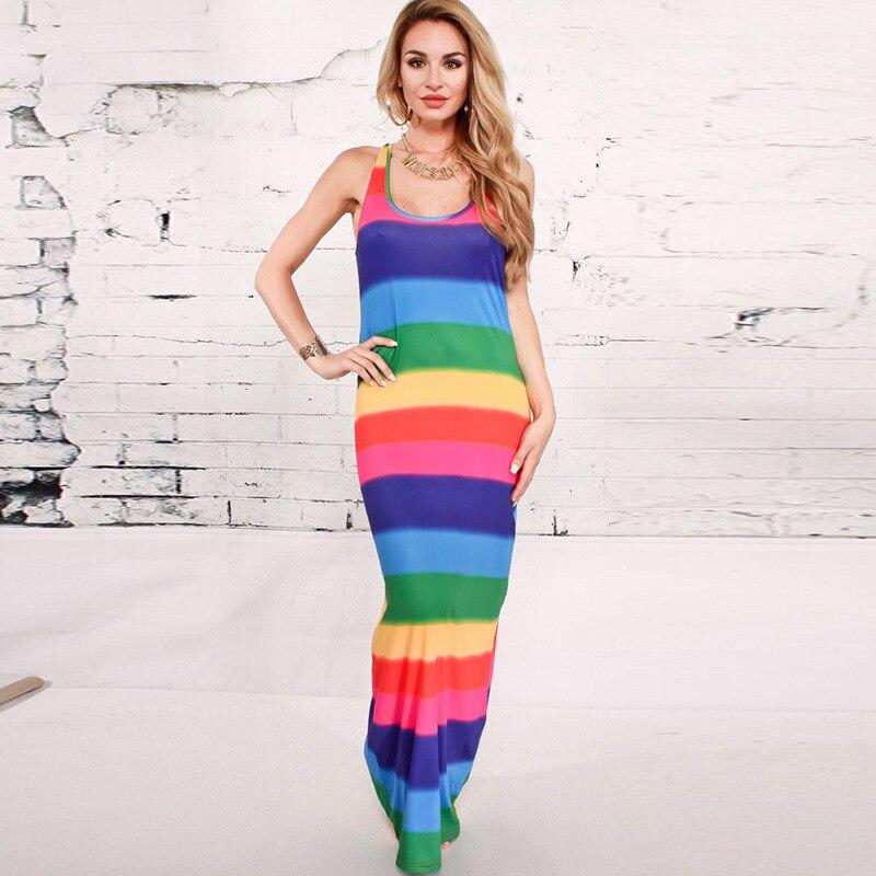 2018 new Summer Dress Sexy Casual Maxi Dress Elegant Evening Party Beach rainbow Striped Dresses Vest Sundress