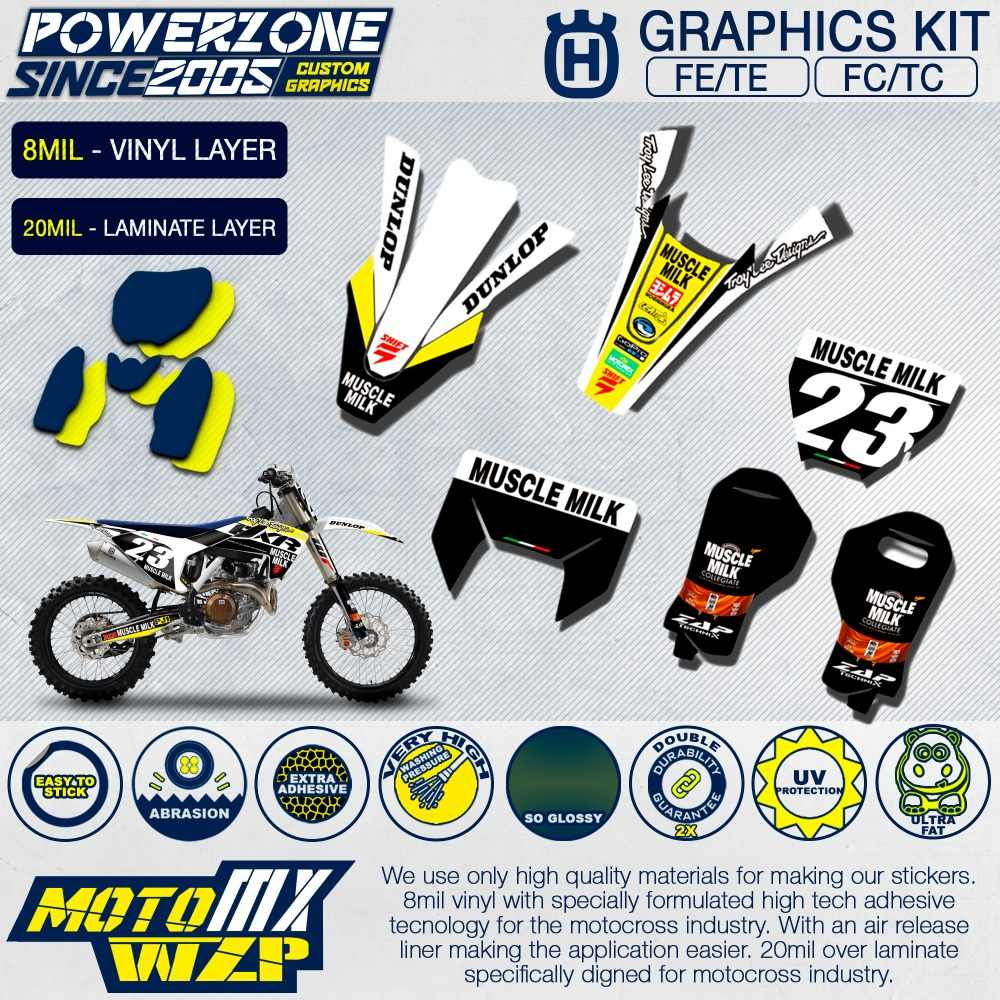 Customized team graphics backgrounds decals 3m custom stickers fxr kit for husqvarna 2014 18 19