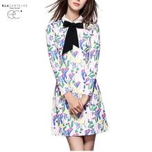 Elacentelha женское платье элегантный лук печати новинка 2016 года осень-зима платье с отложным воротником с длинными рукавами платья