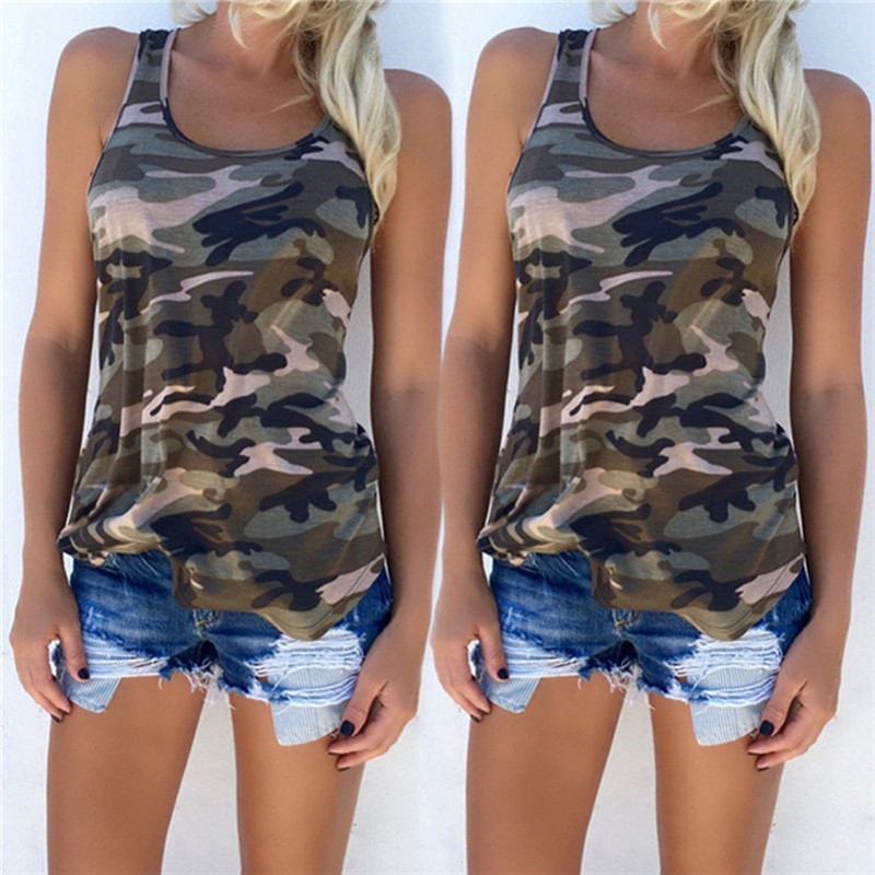 5f8bc0f04caf6 2017 Women O neck Striped Tee Camo Army Green Casual Tank Tops Sleeveless  Girl T shirt For Wholesale Camouflage Tank 4 Colors-in Tank Tops from  Women's ...