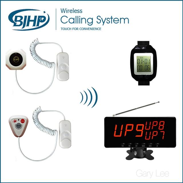 Беспроводная Система Подкачки Пациент Вызова Медсестры Больничной Палате Тревожная Кнопка (1 Дисплей Приемника + 20 Кнопок Вызова + 2 часы Приемника)