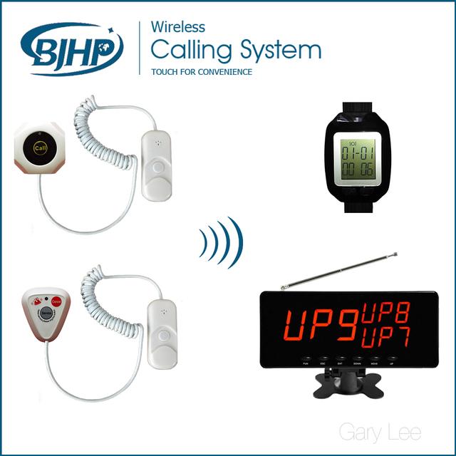 Enfermaria do Hospital Enfermeira Chamada Sistema de Paginação Paciente sem fio Botão de Pânico (1 Visor do Receptor + 20 Botões de Chamada + 2 Receptores relógio)
