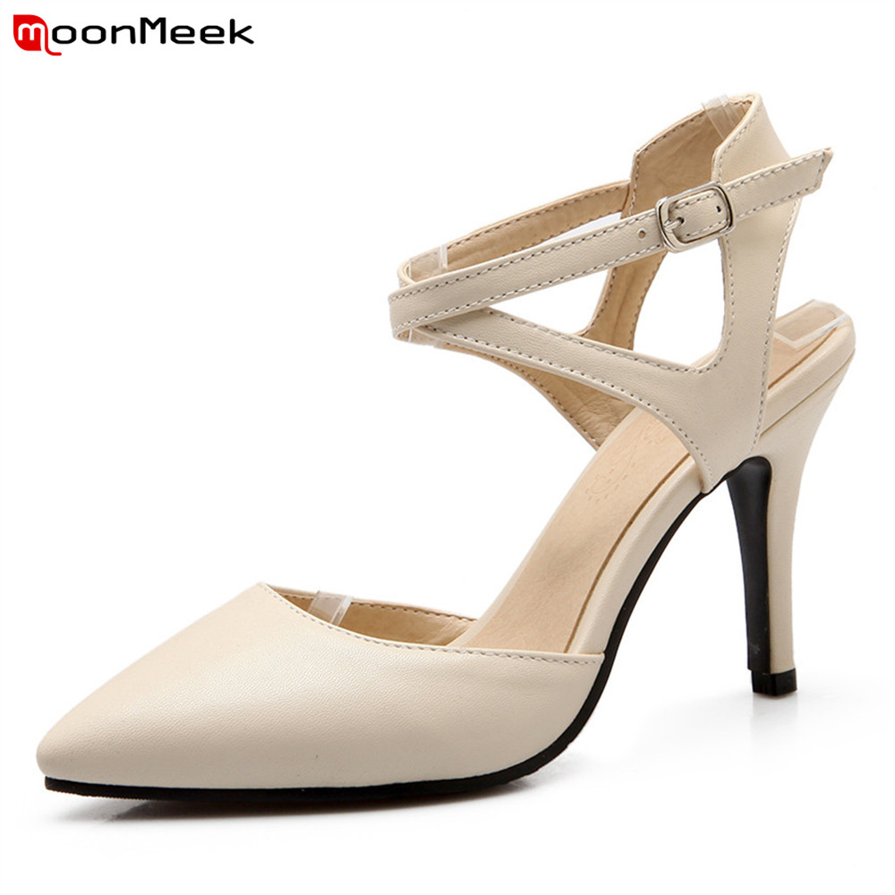 MoonMeek 2018 summer spring extreme high heels pumps women shoes pointed toe thin heel sexy dress party wedding shoes plus size 34 49 new spring summer women wedges shoes pointed toe work shoes women pumps high heels ladies casual dress pumps