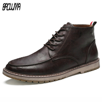 Brand Men Boots Big Size 38 47 Autumn Spring Mens Leather Sneakers Lace Up Mountain Men Platform Working Shoes Waterproof