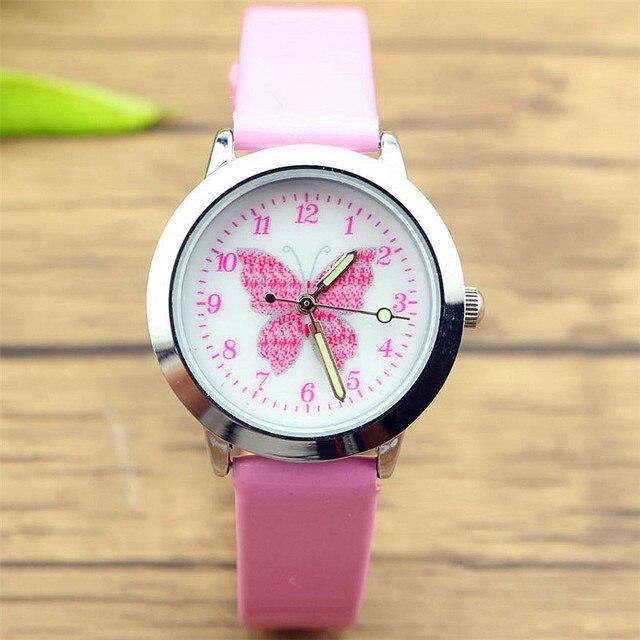 Новые прибыл дети милые животные Простой дизайн кварцевые часы для мальчиков и девочек милые бабочки циферблат учиться время кожа подарок часы