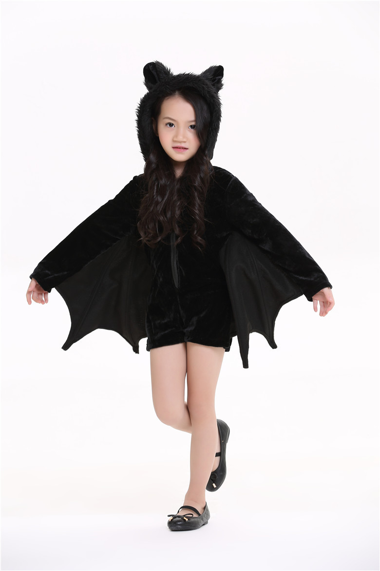 2017 child animal cosplay cute bat costume kids halloween costumes for girls black zipper jumpsuit connect wings batman clothes in girls costumes from