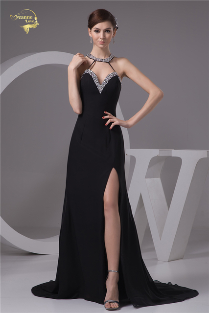 Vestido negro largo pierna abierta