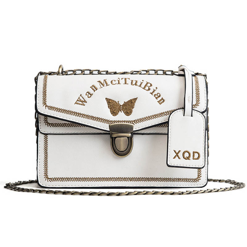Women 39 s Letter Embroidery Crossbody Bag Female Black White Leather Butterfly Shoulder Bags for Women Fashion Designer PU Handbag in Top Handle Bags from Luggage amp Bags