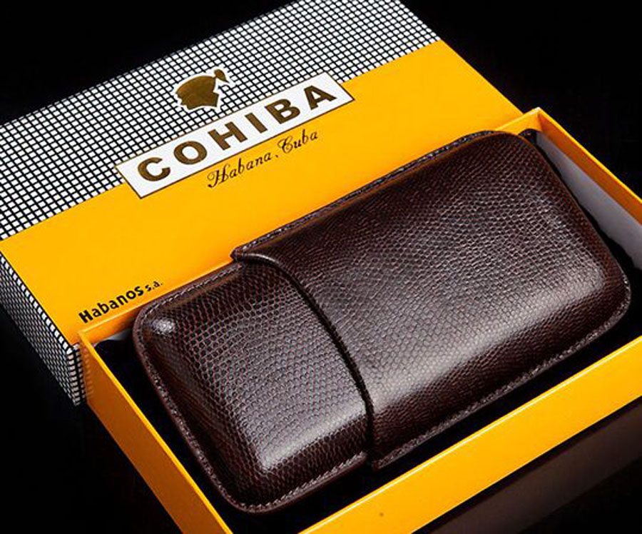 COHIBA Gadgets en cuir de serpent étui à cigares en bois étui à cigares 3 tubes compte Portable étui de voyage cadeau boîte de poche noire 5305L