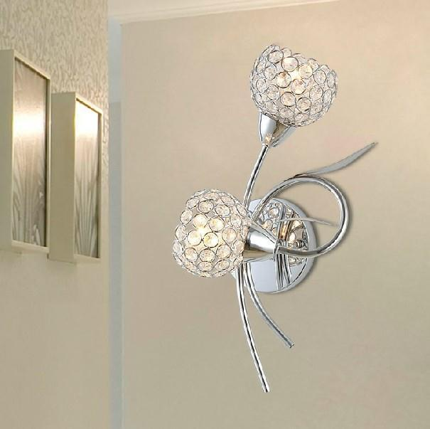 ФОТО Unique design modern style crystal wall lamp in chrome color with 110V-220V E14/E12 2*40W