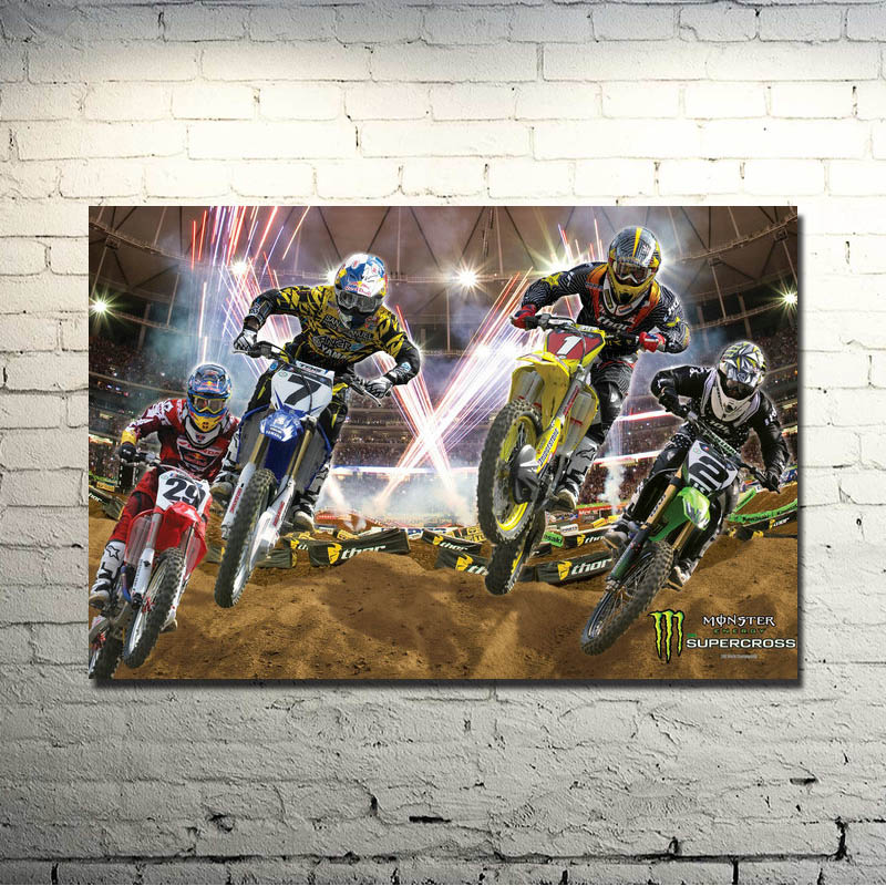 MOTOCROSS DIRT BIKE JUMP Art Silk Poster 13x20 24x36 Inches Sports Picture For Wall Decor 017
