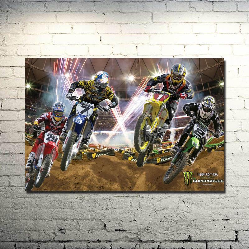 Affiche de sport pour la décoration murale   Affiche dart en soie, MOTOCROSS DIRT BIKE, 13x20 24x36 pouces, image de sport pour décor mural 017