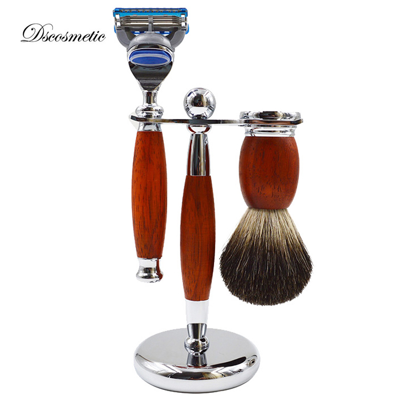 New Red Wood Pure Badger Shaving Brush and Safety Razor set/kits Black Pure badger hair shaving brush dscosmetic shaving brush set with badger hair shaving brush safety shaving razor and shaving brush holder stand
