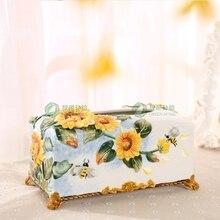 ceramic sunflower tissue box Case home decor crafts room decoration handicraft ornament porcelain figurines wedding