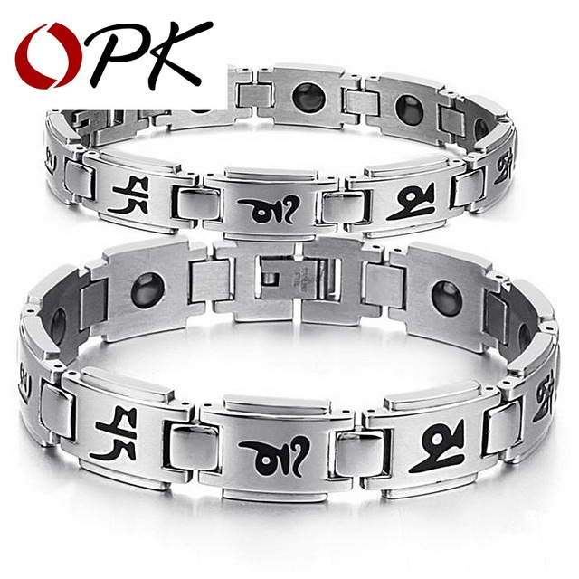 OPK Religious Lover's Bracelets Anti-fatigue Energy Balance 316L Stainless Steel Magnetic Women Men Jewelry Gift  GS3141