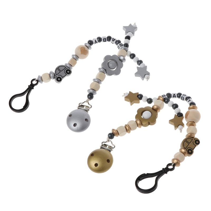 Cartoon Wooden Pacifier Chain Nipple Holder Dummy Clip Chain For Infant Toddler Baby Feeding Teether Pacifiers Leash Strap