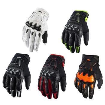 Gorąca sprzedaż Top skórzane rękawice męskie z włókna węglowego Motocross wyścigi rowerowe rękawice 5 kolorów rozmiar M L XL tanie i dobre opinie Purlicue Bracers Unisex