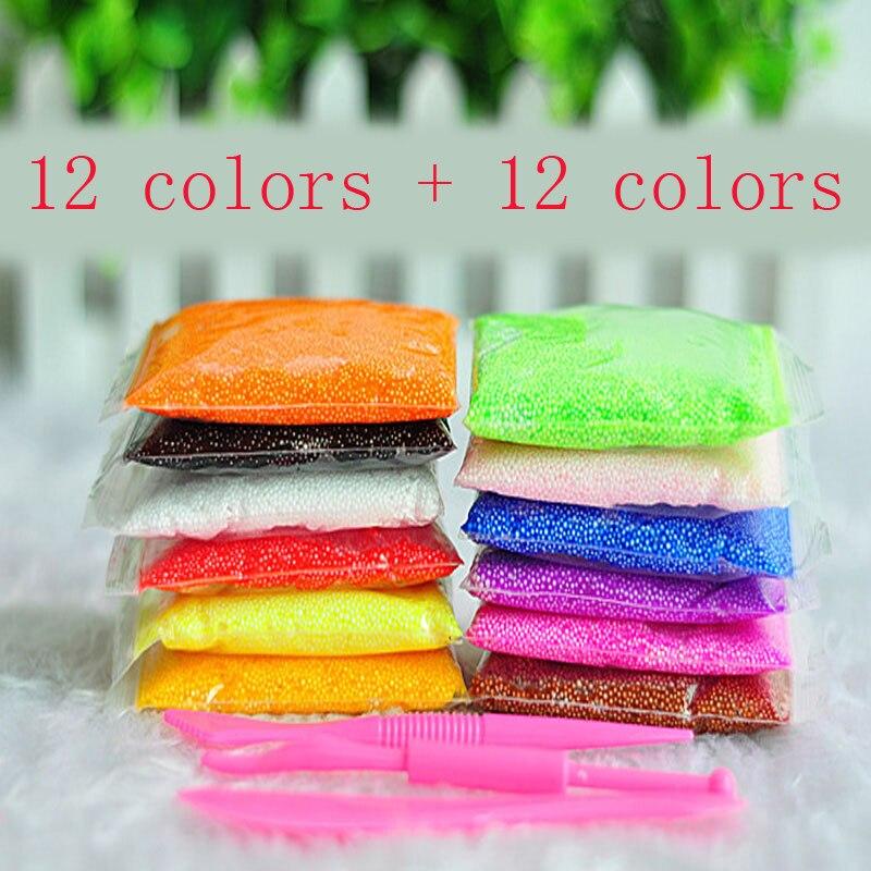 ツ)_/¯12 colores jugar espuma y 12 colores slime luz suave color ...