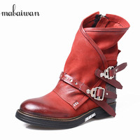 Mabaiwan Fashion Military Cowboy Winter Boots Genuine Leather Women Shoes Buckles Riding Flats Ankle Boots Retro Zapatos Mujer