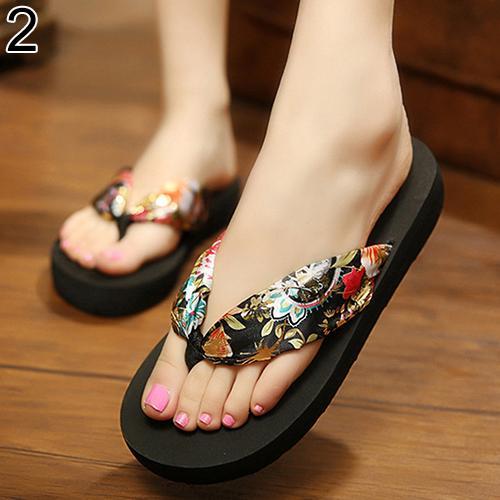 Women Summer Fashion Sandals Beach Flip Flops Print Bohemian Soft Slippers все цены