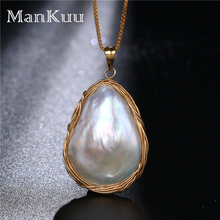 Baroque Gold Wire Wrap Pearl Pendant Necklaces Irregular Natural Freshwater Bridal Wedding For Women