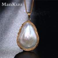 Baroque Gold Wire Wrap Pearl Pendant Necklaces Irregular Natural Freshwater Pearl Necklaces Bridal Wedding Necklaces For Women