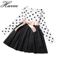 2017 Baby Winter Dress For Girl Long Sleeve Bow Princess Girls School Dresses Polka Dot Toddler