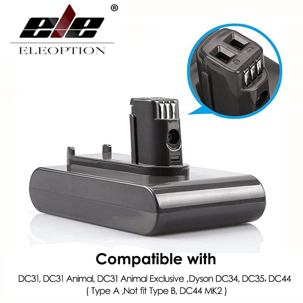 все цены на ELEOPTION 22.2V 2000mAh Li-ion Replacement Battery For Dyson DC31 Vacuum Cleaner DC34 DC35 DC44 DC45 (Not Fit Type B, DC44 MK2) онлайн