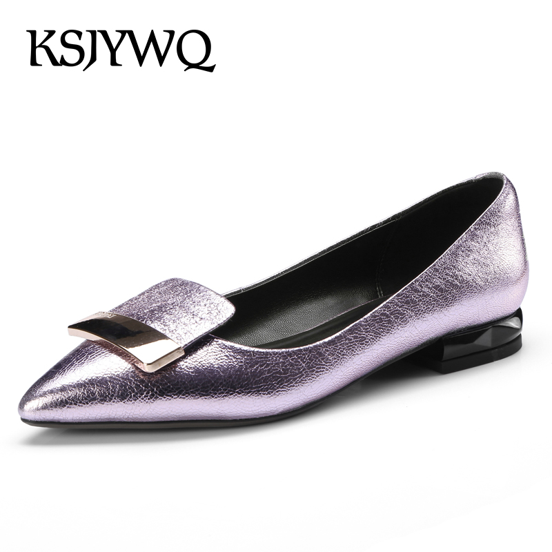 KSJYWQ Silver Leather Slip-on Low Pumps 2 CM Thick Heels Plus Size Dress Shoes Summer Style Big Size Casual shoe Box Packing 25 slip on men casual shoes male sandal new fashion genuine leather low heel high quality brand korean style thick bottom plus size