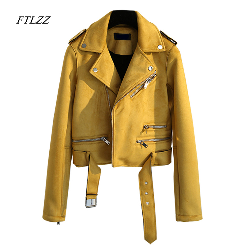 Ftlzz Spring Autumn Women Faux Suede Leather Jacket Vintage Short Black Soft Motorcycle Jackets Fashion Basic