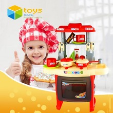 Simulation Kid's Kitchen Toys for Girls Children Cooking Toy Pretend Play Set with Light Sound Pink Red Educational Toys Gifts