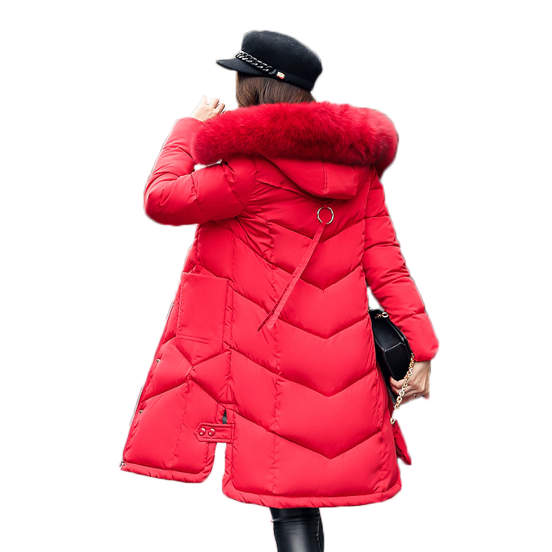 Winter Jacket Women Parka Plus size 2017 Down Cotton Padded Coat Slim Fur Collar Hooded Thick Warm Long Overcoat Female QW699 women elegant winter warm long coat down padded jacket slim fur collar hooded parka coats 2017 female slim long parka with belt