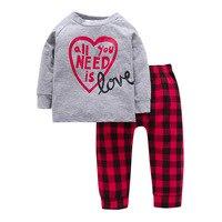 Di alta qualità per bambini ragazza manica lunga primavera set di abbigliamento in cotone lettera plaid vestito per il bambino gir autunno set t shirt + pants set